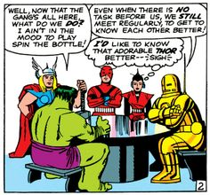 Panel from issue #2 (The Avengers ASSEMBLE...for their first team meeting)