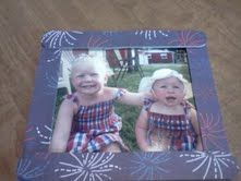 Fun frames/fridge frames...  Popsicle sticks (two cut to width of picture), trace the popsicle stick to scrap paper to cut out, glue paper to sticks, last you use hot glue gun to glue frame together.  I used scotch tape to hold pic so its interchangeable.
