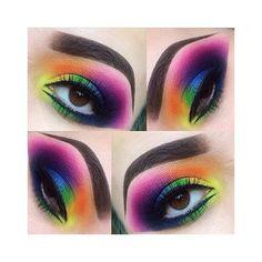 Amazing rainbow eye make up! (sugarpill Majestic rainbow eyes by using and eyeshadows! Eye Makeup Tips, Makeup Goals, Eyeshadow Makeup, Makeup Inspo, Makeup Art, Makeup Inspiration, Makeup Ideas, Beauty Makeup, Smokey Eyeshadow