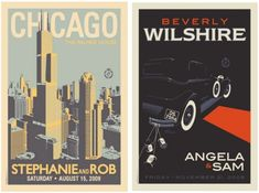 Vintage Wedding Posters...maybe instead of guest book we could have guests sign the matte around the poster?