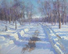 A Little Snow by Jane McGraw-Teubner, Pastel, 8 x 10 Pastel Landscape, Winter Landscape, Landscape Art, Landscape Paintings, Painting Snow, Winter Painting, Winter Art, Pictures To Paint, Art Pictures