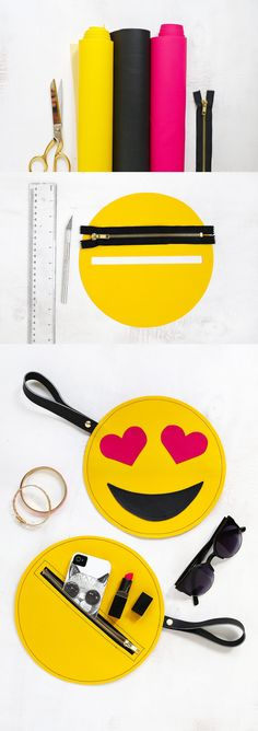 """Emoji"" bag for accessories Sewing Hacks, Sewing Crafts, Sewing Projects, Felt Crafts, Diy And Crafts, Emoji Craft, Pencil Bags, Handmade Bags, Diy Clothes"