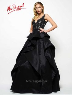 Mac Duggal style 48418R is pure elegance. With laced bodice, waterfall full…