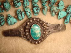 """VINTAGE FRED HARVEY ERA 2"""" NAVAJO STERLING SILVER & TURQUOISE STAMPED ARROW…"""