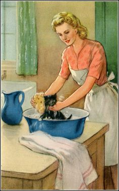 """from the book """"Tiptoes the mischievous kitten"""", illustrated by P. B. Hickling (1950's)"""