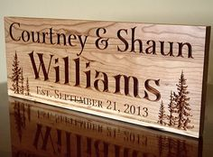 Rustic first & last name sign with wedding date, can display at reception & then in your home : )