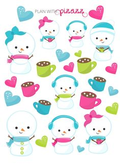 Kawaii SNOWMAN LOVE themed Stickers Perfect for Erin Condren Planner, Filofax, Happy Planner, Plum Paper