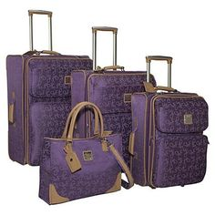 Diane von furstenberg signature seven 4 piece luggage set my style багаж, с Luxury Luggage, Travel Luggage, Travel Bags, Best Carry On Luggage, Luggage Sets, Purple Luggage, Travel Clothes Women, Packing Tips For Travel, Travel Ideas