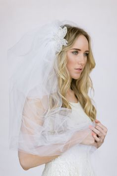 Fingertip Length Tulle Bohemian Wedding Veil with by ThreeBirdNest, $248.00