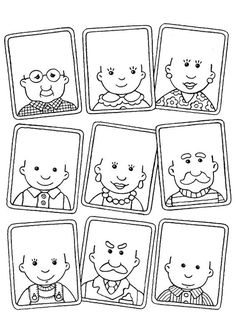 coloring page - draw hair on the people's heads (or you could use yarn, torn consrtuction paper, pipe cleaners. Art For Kids, Crafts For Kids, Family Theme, Activity Sheets, Preschool Worksheets, Colouring Pages, Art Education, Kids And Parenting, Art Lessons