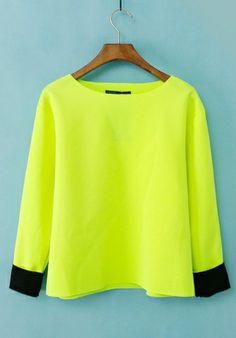 Yellow Fluorescent yellow Round Neck Long Sleeve Plain Tops