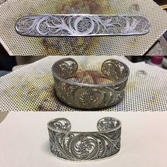 Been working in between workshops. Haven't posted a new one lately. Fresh off the bench is a cuff bracelet! Also busy working on pieces for th Santa Cruz Open Studios Tour in October. So excited! Filigree workshop and a youth class left for the summer! #filigree #filigrana #finesilver #sterlingsilver #silverjewelry #handmadejewelry #madeinsantacruz #cuffbracelet #cuff #bracelet #filigreeaddict #pcubangbangart