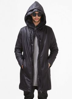 VANDALS Winter Full Zip-Up Coated Long Hood Jacket $140.00 #Fashion #Style #Street #Black #Winter #Long