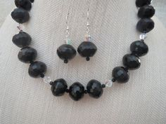 Large Black Faceted Onyx Swarovski Necklace Earrings by jazzybeads