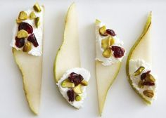 pear slices with cream cheese, cranberries, and pistachios i think... sounds delicious