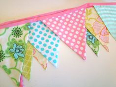 Pastel Fabric Banner Birthday Party or Nursery decoration Triangle Banner Pink, Green, Aqua, Yellow for girls
