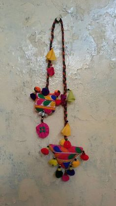 Yarn Crafts, Fabric Crafts, Diy And Crafts, Arts And Crafts, Fabric Necklace, Fabric Jewelry, Ornaments Design, Navratri Dress, Fabric Flowers