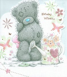 ME TO YOU HAPPY BIRTHDAY TATTY TEDDY BEAR HOLDING CAKE BIRTHDAY CARD