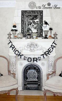 The Decorated House Halloween 2013. Black & White with Mercury Glass :: Halloween Decor Decorating. It's all about the beauty of black and white. Lots of fun diy ideas to make your Halloween pretty.