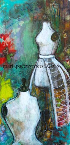 The Sewing Room 2- Original mixed media painting by Maria Pace-Wynters  Free Shipping In Canada