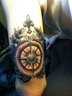 Wow. . . This is gorgeous. Sans fleur de lis, with an arrowhead instead. By Chris Dykes at Broken Heart Tattoo in San Diego.