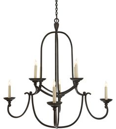 $839.90 Visual Comfort Chart House Medium Flemish Round Chandelier in Aged Iron CHC1494AI