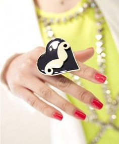 Alloy Heart Ring with Mustache Inner - Rings - Jewellery - Bags & Accessories
