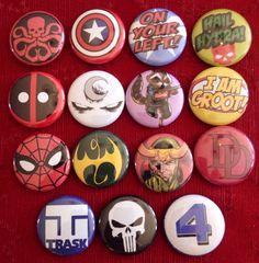 Marvel Huge Pin Set / 15 pins / Deadpool / Loki / by PinCulture, $9.00