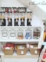 Pantry makeover, when we take down the shelves and get really nice glass jar canisters, we could put 'white chocolate chips' and 'chocolate chips' and 'flour' and 'sugar' in them to keep it looking clean. Like the ideas in this blog!