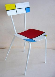 recycled chair Mondrian 1 575x800 Recycled chair Mondrian in furniture  with Upcycled Recycled Polish mondrian maria fiter Furniture Ecodesign design Art