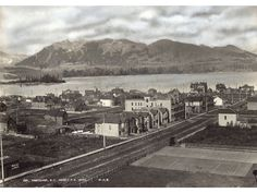 In 1889 Montreal photographer William McFarlane Notman went to the top of the Canadian Pacific Railway's new Hotel Vancouver and took a photo of downtown, looking north.Vancouver was only thr… Richmond Vancouver, Vancouver Photos, Vancouver Bc Canada, Suspension Bridge Vancouver, Old Photos, Vintage Photos, Canadian Pacific Railway, Fraser Valley, Most Beautiful Cities