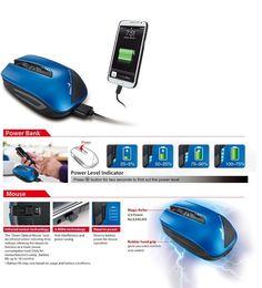Genius - Energy Mouse wśród najlepszych w https://eokazje.eu/catalogue/Genius_18410 ! Energy Mouse to bezprzewodowa myszka komputerowa z wbudowanym akumulatorem litowo-polimerowym o pojemności 2700 mAh, dzięki któremu może pełnić rolę banku energii. Poprzez dołączony w zestawie kabel USB można naładować do pełna baterię większości smartfonów lub doładować akumulator tabletu.