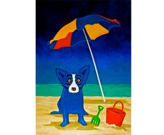 George Rodrigue Looking for a Beach House oil painting and framed sale, painting