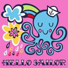 Hello Sailor!! Octopus illustration from our Down by the Sea range.