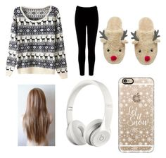 """""""x-mas"""" by vanessatwinkles on Polyvore featuring Warehouse, Casetify and Beats by Dr. Dre"""