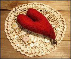 Primitive Red Needlepunch Valentine Heart