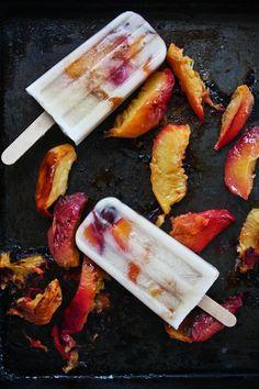 Roasted Peach Coconut Cream Popsicles