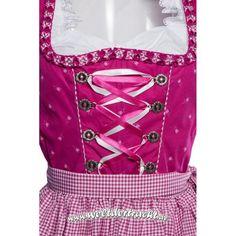 Dirndl Knielang pink geblümt mit Schürze und Bluse 3 tlg
