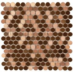 Mosaics Metal Tile Penny Round Brushed Copper