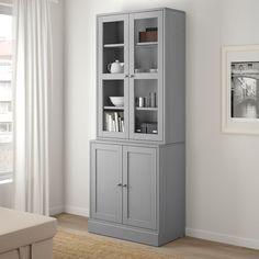 Glass Cabinet Doors, Sliding Glass Door, Glass Doors, Scandinavian Furniture, Scandinavian Design, Tempered Glass Shelves, Hidden Storage, Solid Pine, Panel Doors