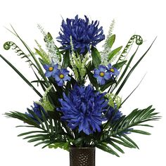 Blue Spider Mums Silk Flower Bouquet with Stay-In-The-Vase® Design Flower Holder(MD1553) ** Click image to review more details.