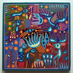 """The Arrival of the Gods Huichol yarn painting by Jose Benitez Sanchez (1938-2009) Nayarit, Mexico, c. 2007 Yarn pressed into beeswax on plywood (24"""" x 24"""")"""