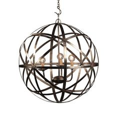 Iron Orb Chandelier. Industrial Iron Rings and a Three way cluster body. Candelabra light bulbs. Finished in an aged raw metal silver patina. MIXfurniture.com