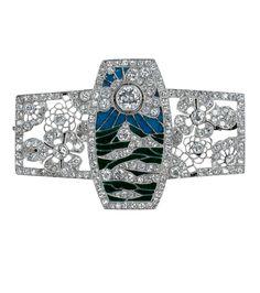 An Art Deco brooch, circa 1925, French, composed of platinum, diamond and enamel. #ArtDeco #brooch