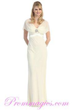 White Short Empire Waist Chiffon Dress