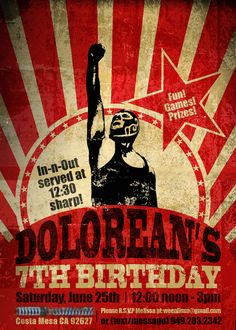 Lucha Libre birthday invitation (red, any color available).