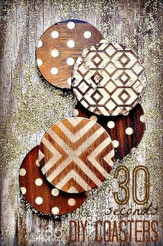 Today I am going to show you how you can stencil pretty much anything in less than a minute. I found these adorable  wood coasters at Target and I gave them a quick makeover using stencils and spray paint. I love how the gold patterns give them a modern chic look.   …here they are ready to …