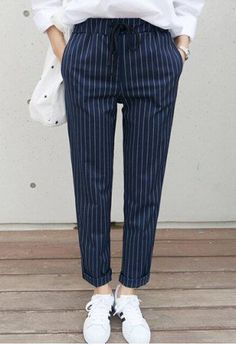Stylish Waist Drawstring Striped Loose-Fitting Rolled-Up Women's Ankle Pants Look Fashion, Fashion Outfits, Fashion Site, Men Fashion, Pantalon Bleu Marine, Pinstripe Pants, Striped Pants, Cheap Clothes Online, Pants For Women