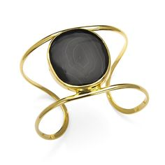 Charm & Chain | Single Druzy Wire Cuff, Black - Jewelry