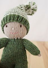 Custom knitted baby elf doll, stuffed waldorf style wool softie Remember when toys were simple! Knitting For Kids, Loom Knitting, Knitting Projects, Baby Knitting, Knitting Patterns, Crochet Patterns, Knitted Baby, Hat Patterns, Knitted Dolls